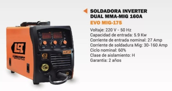 SOLDADORA INVERTER DUAL MMA-MIG 160A - LUSQTOFF